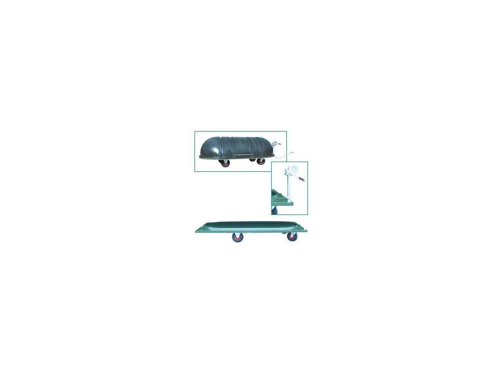 Plochý vozík na kadávery s drenážním kohoutem a navijákem - bez krytu