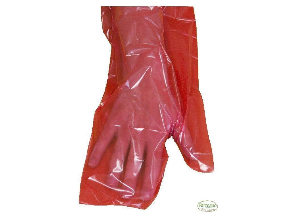 Rukavice - palcové, červené - dlouhé
