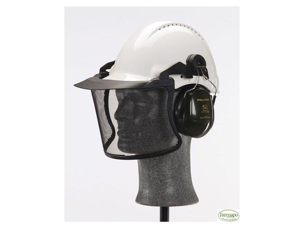Ochranná helma s jemným drátěným štítem a ochrannými sluchátky H7