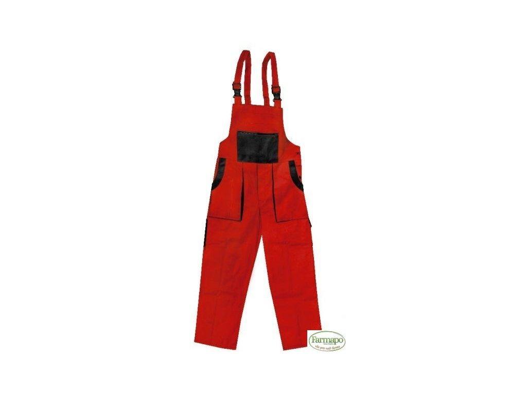 Kalhoty s laclem /zahradníky, pánské, červeno/černé