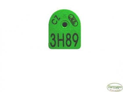 M - plastová ušní známka s popisem