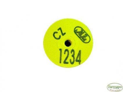 S - plastová ušní známka. S popisem