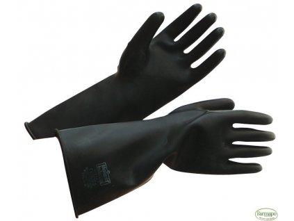 Pracovní rukavice odolné proti všem typům chemikálií, gumové. 41 cm