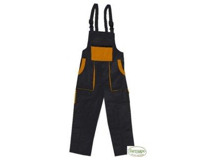 Kalhoty s laclem /zahradníky/ pánské, černo/oranžové