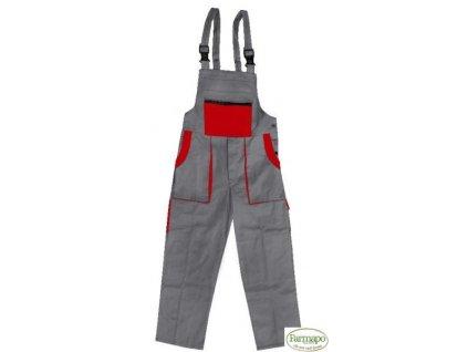 Kalhoty s laclem /zahradníky, pánské, šedo/červené