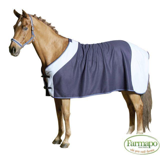 Deka odpocovací a transportní fleece pro koně, nám. modrá/světle modrá Velikost: 105