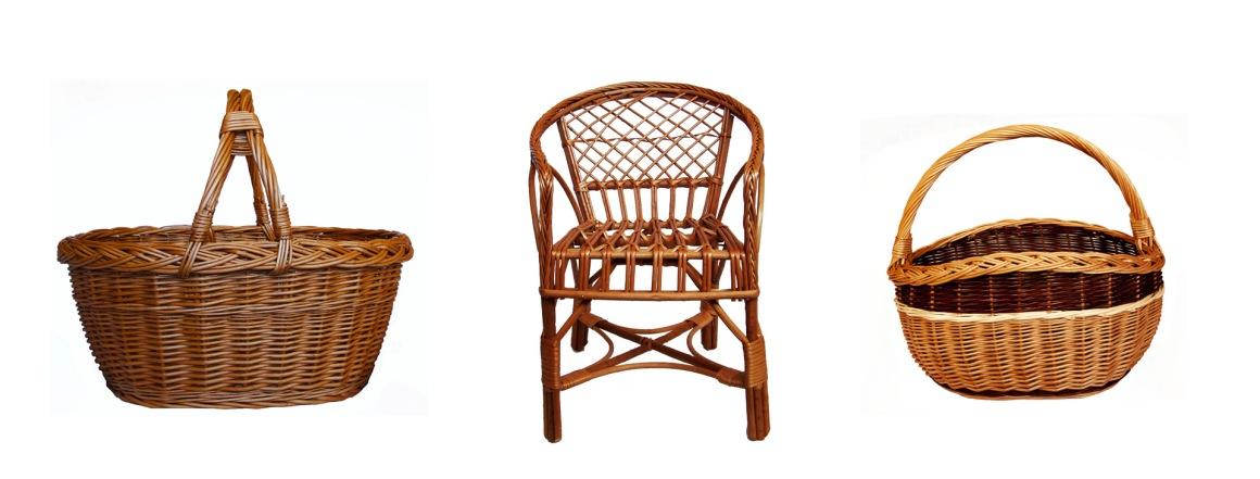 Proutěné koše na nákup a dětská židlička
