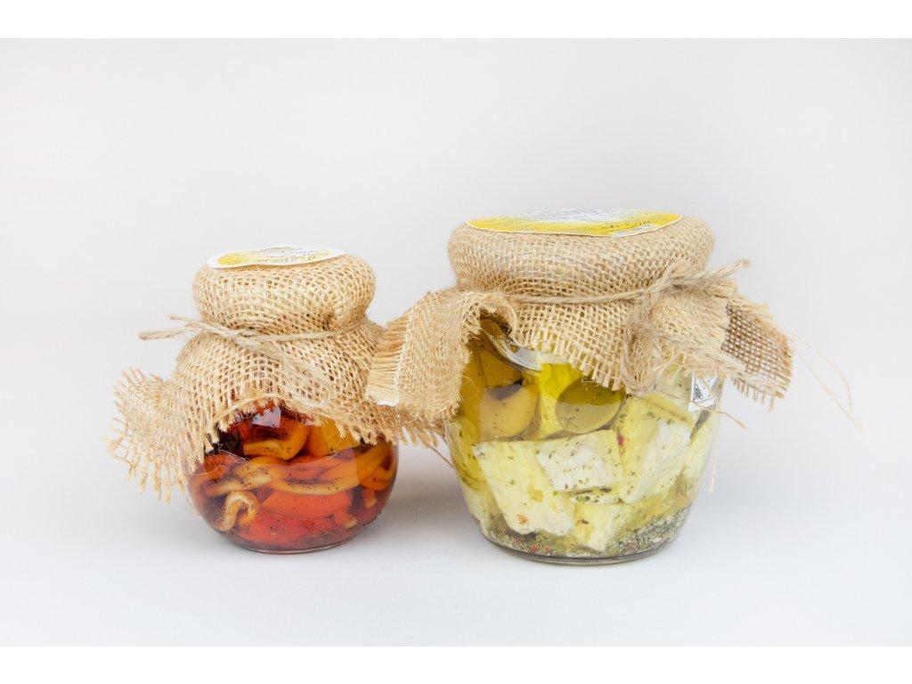 Nakládané sýry ve skle malé
