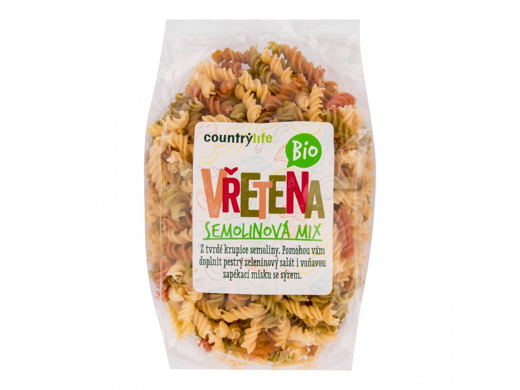 Těstoviny vřetena semolinová mix 400g