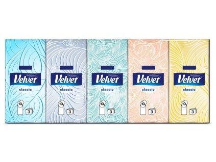 Kapesníky Velvet Classic 10x10, 3 vrst.