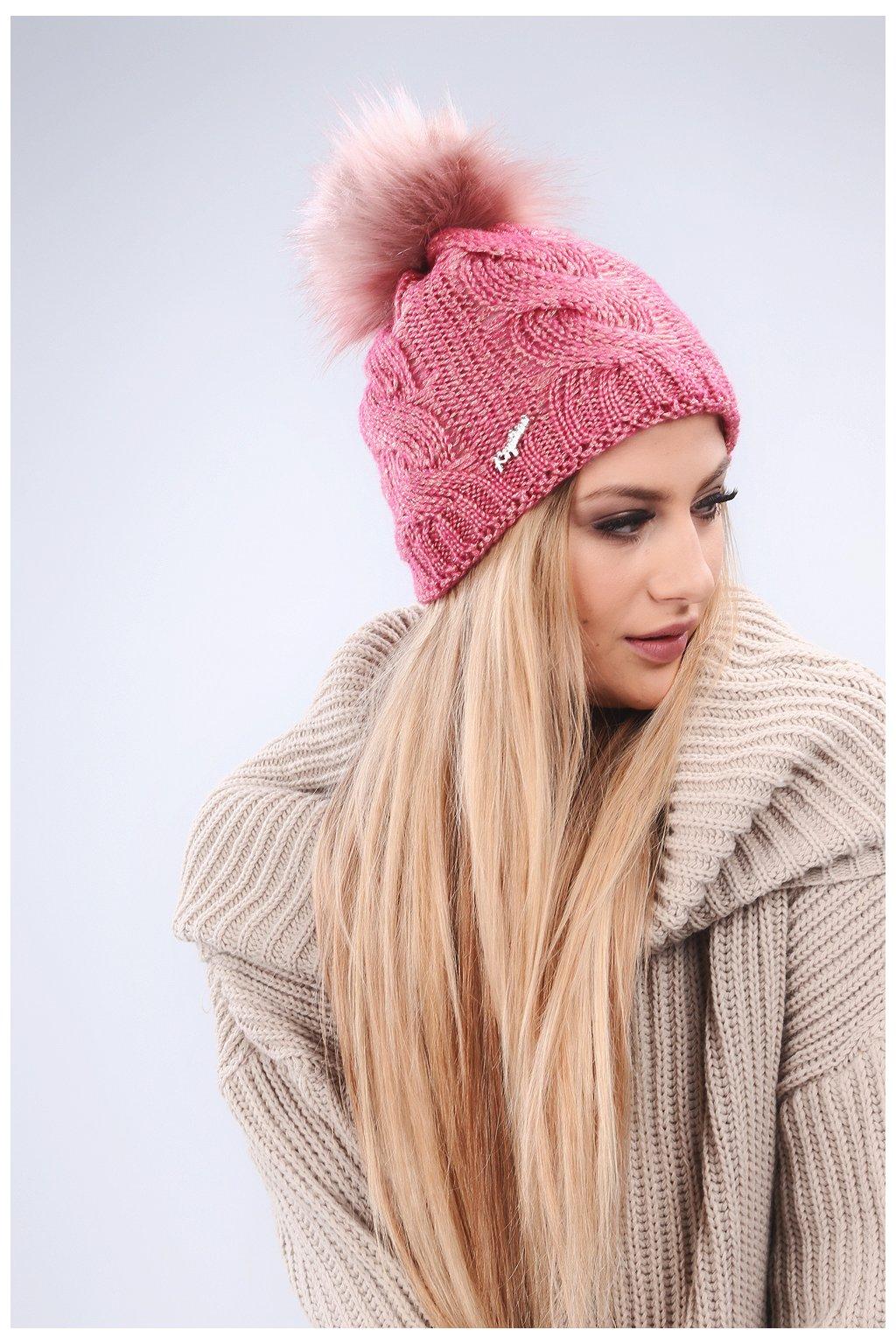 Amarantová zimní čepice Fasardi