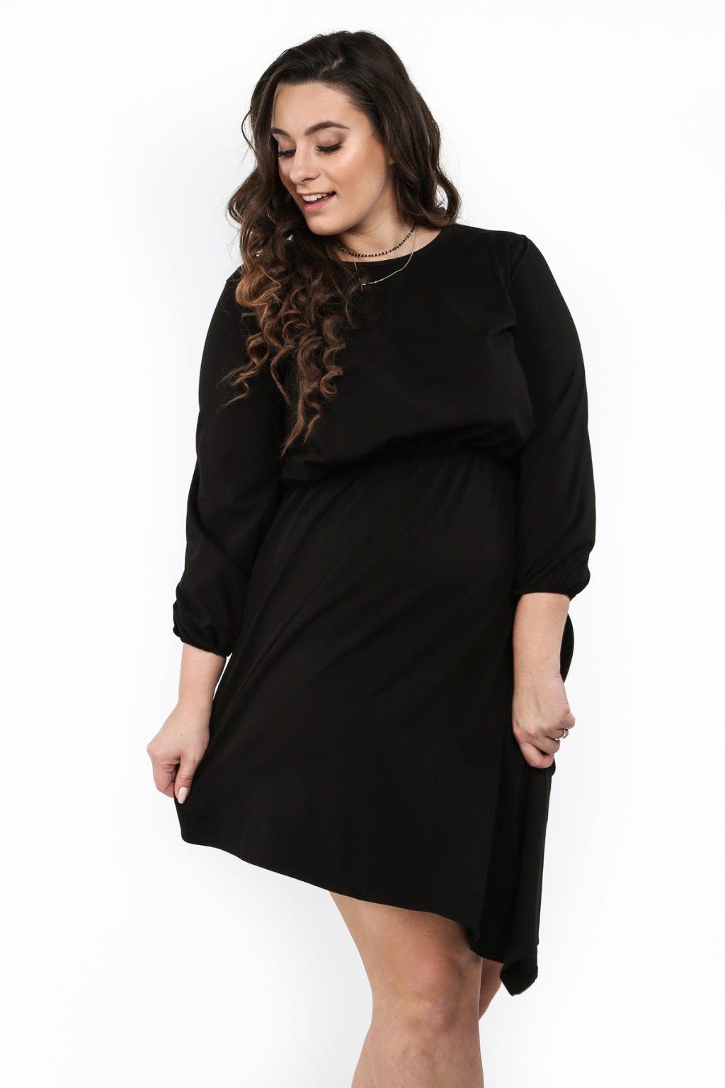 Asymetrické černé šaty Fasardi Plus Size