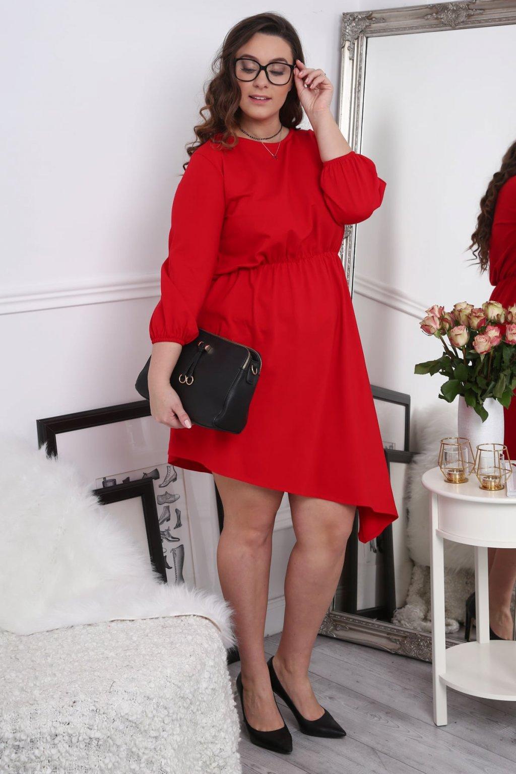 Asymetrické červené šaty Fasardi Plus Size