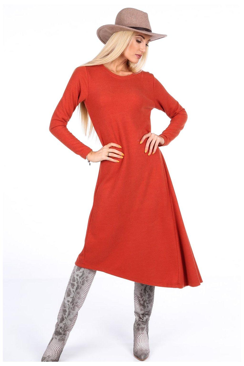Asymetrické jarní šaty Fasardi oranžové