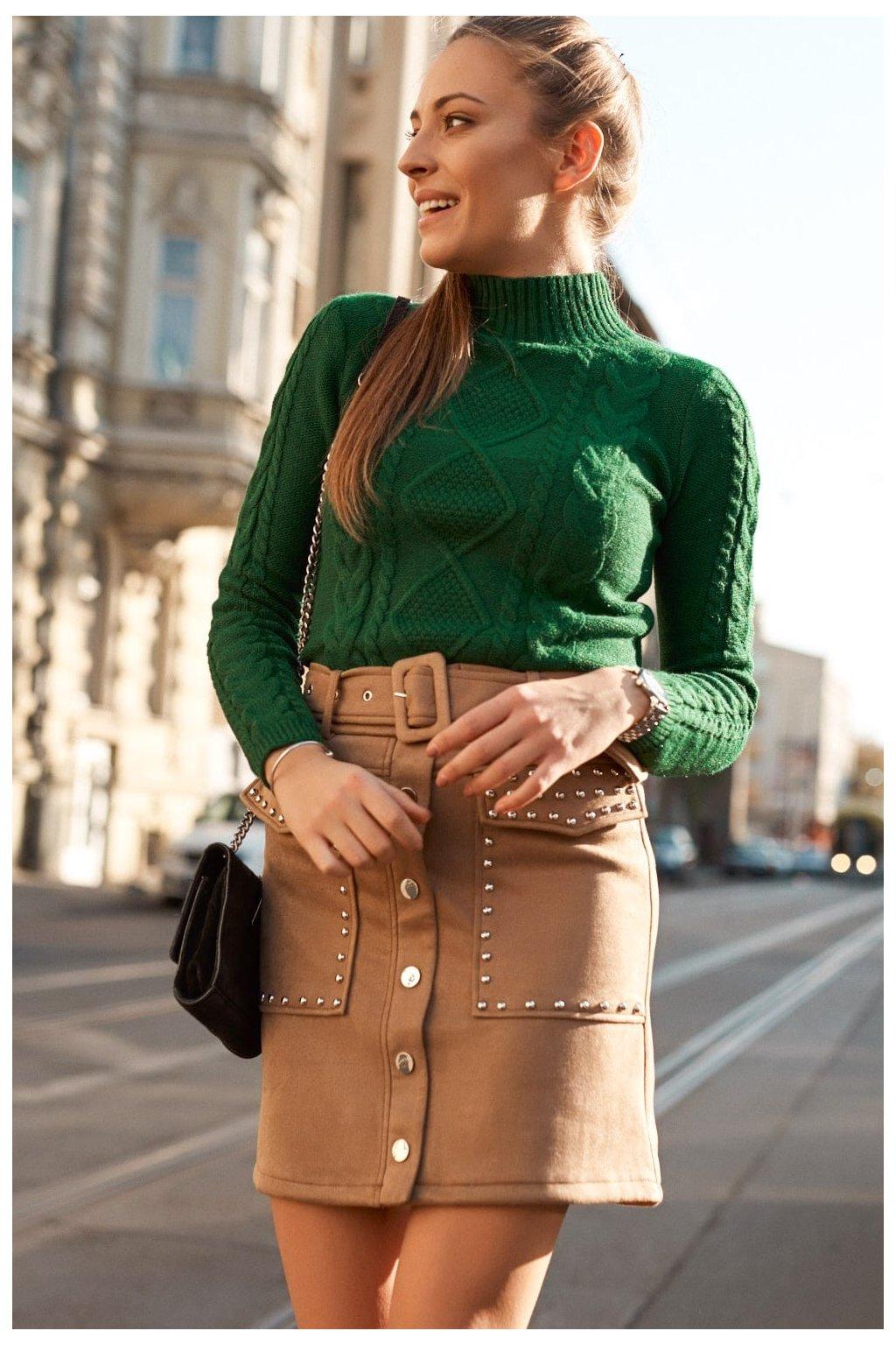 Béžová semišová sukně Fasardi s páskem