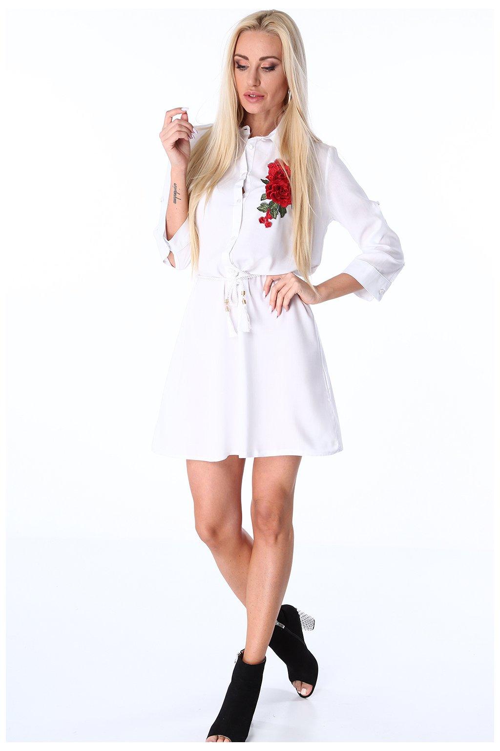 Bílé šaty Fasardi s výšivkou