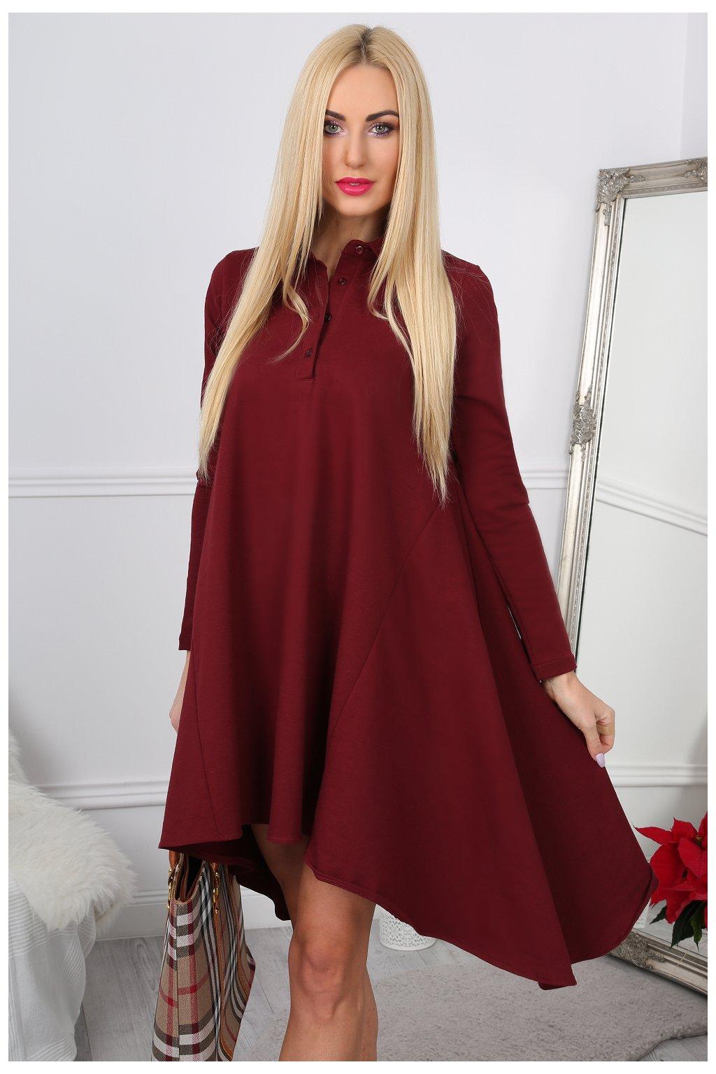 Bordové široké šaty Fasardi s límcem