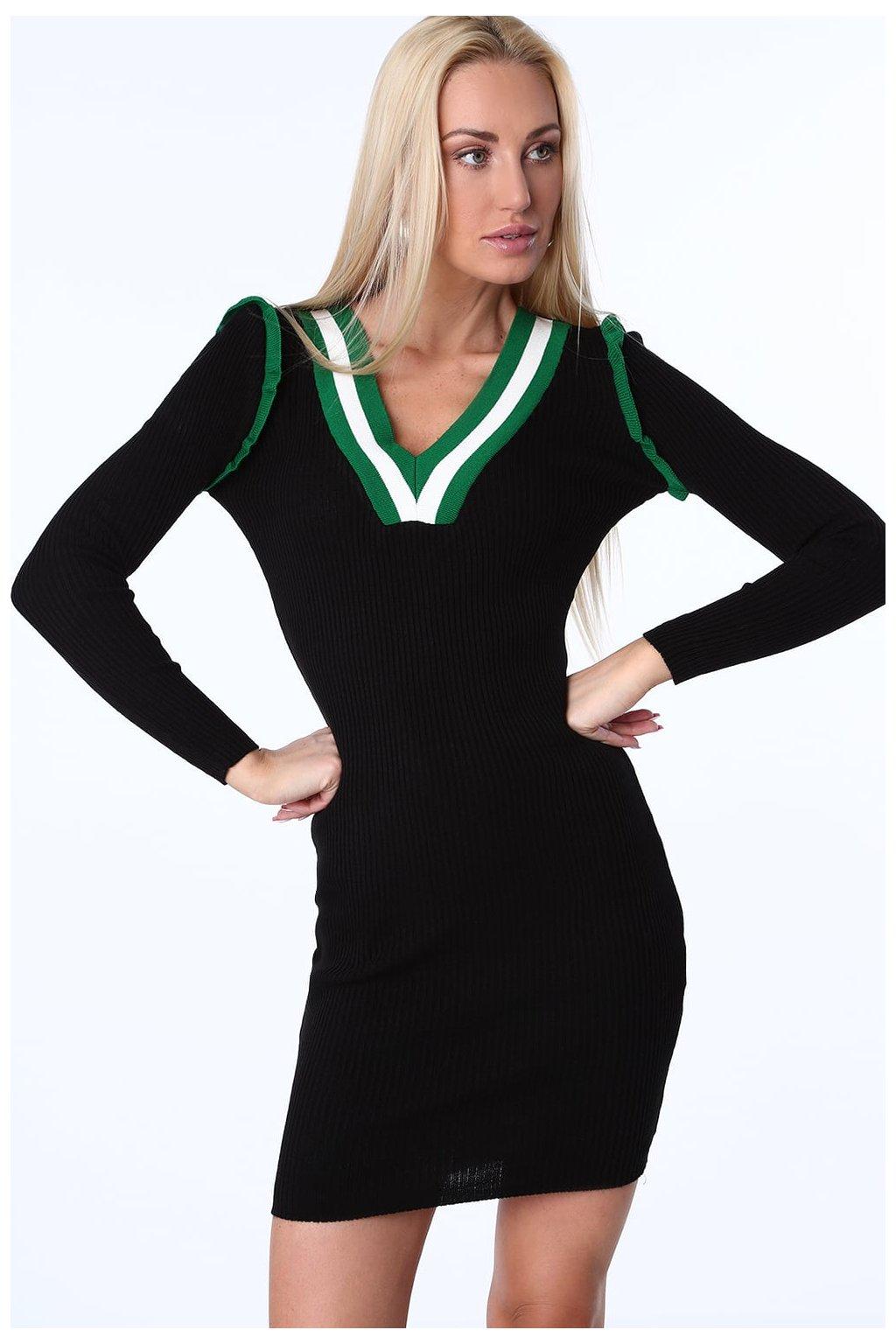 Černé šaty Fasardi se zeleným lemováním