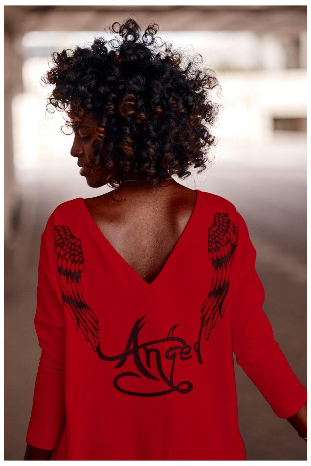 Červené šaty Fasardi s  potiskem na zádech