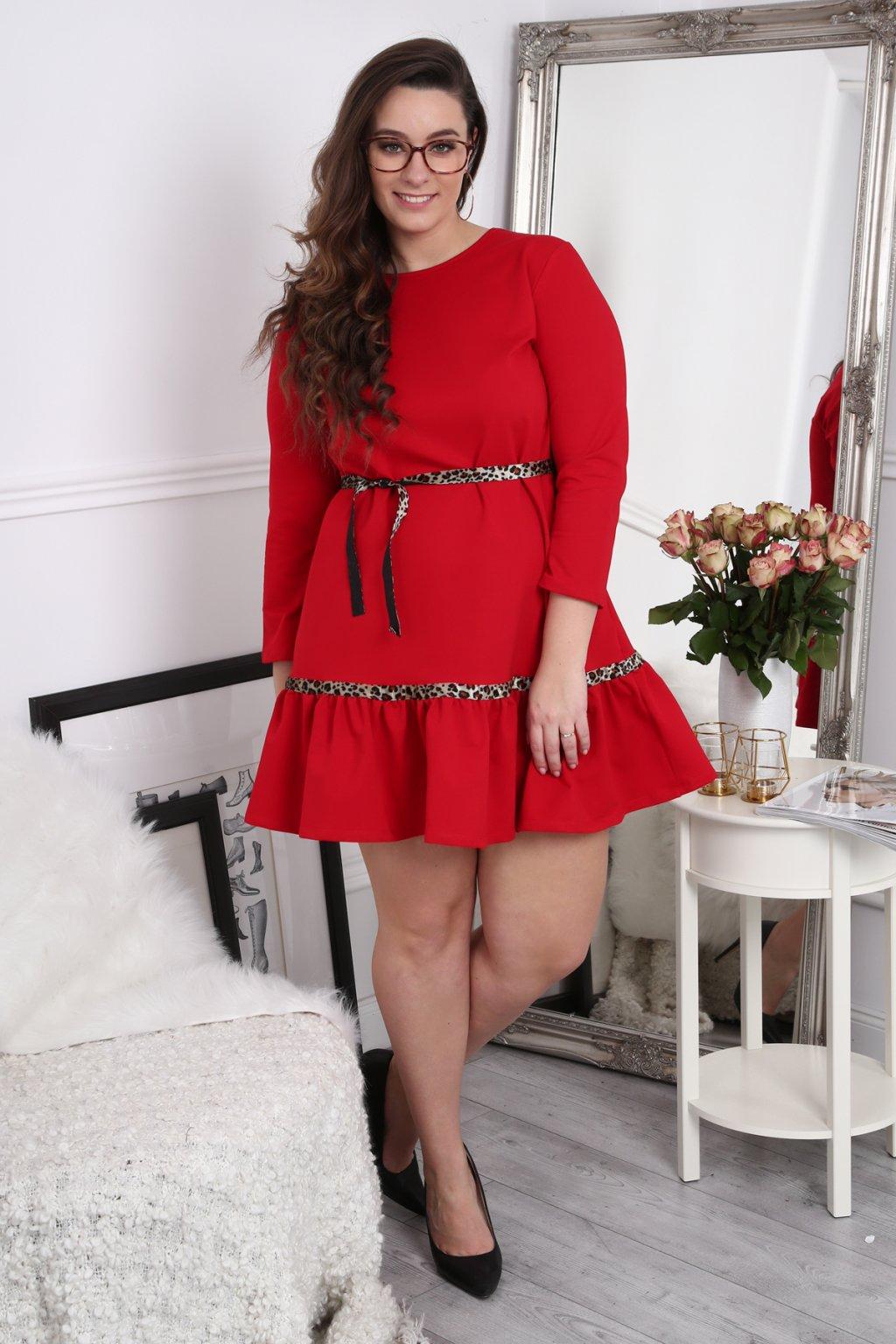 Červené šaty Fasardi s volánky Plus Size