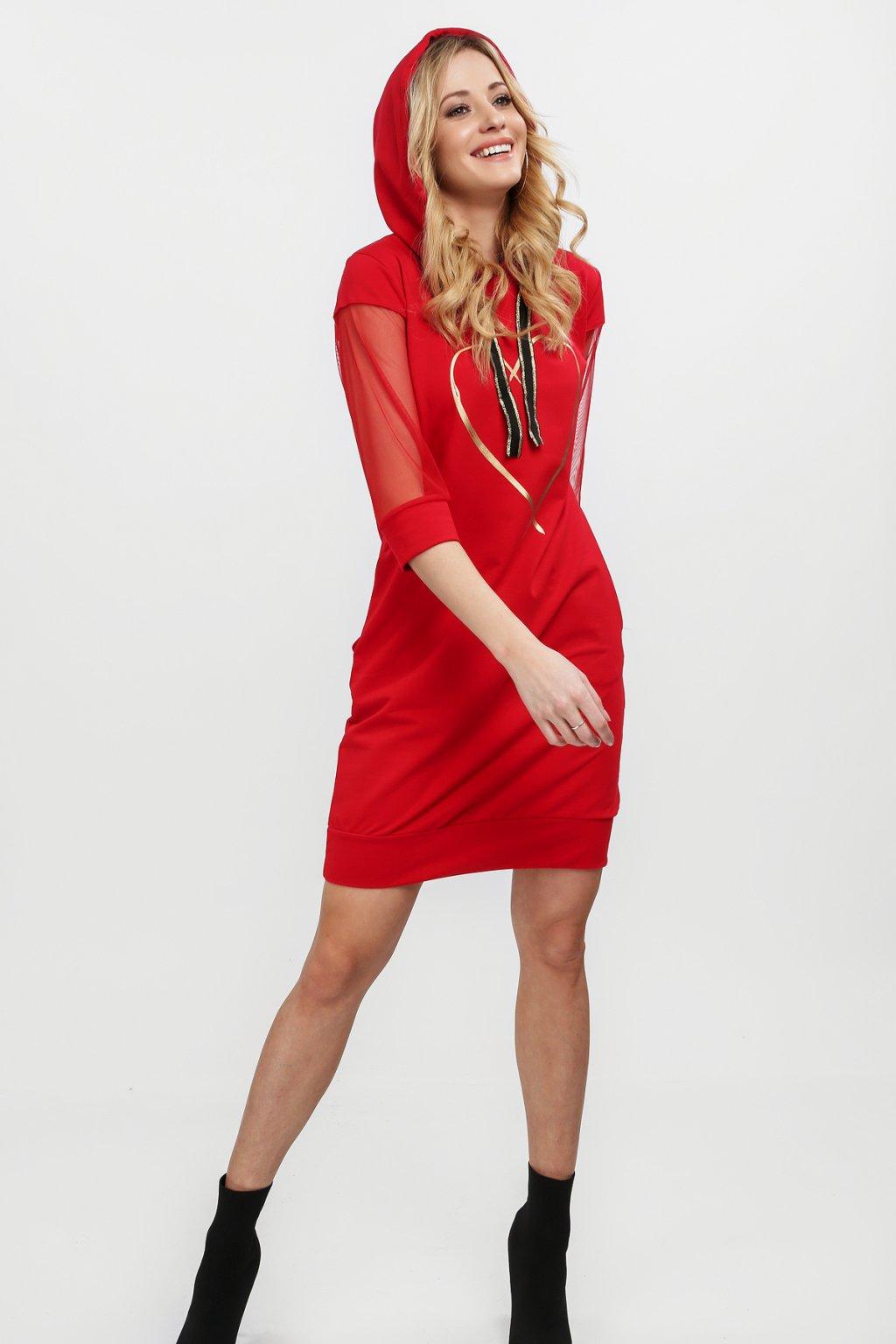 Červené šaty Fasardi se srdcem