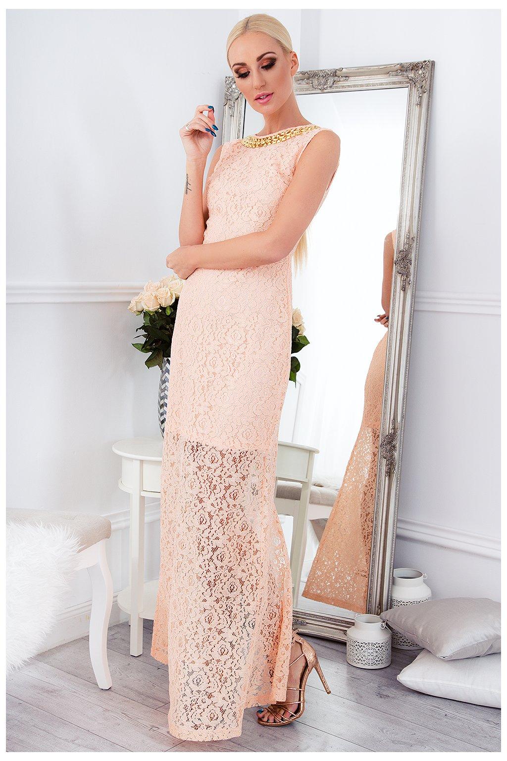 Dámské broskvové šaty Fasardi s krajkou