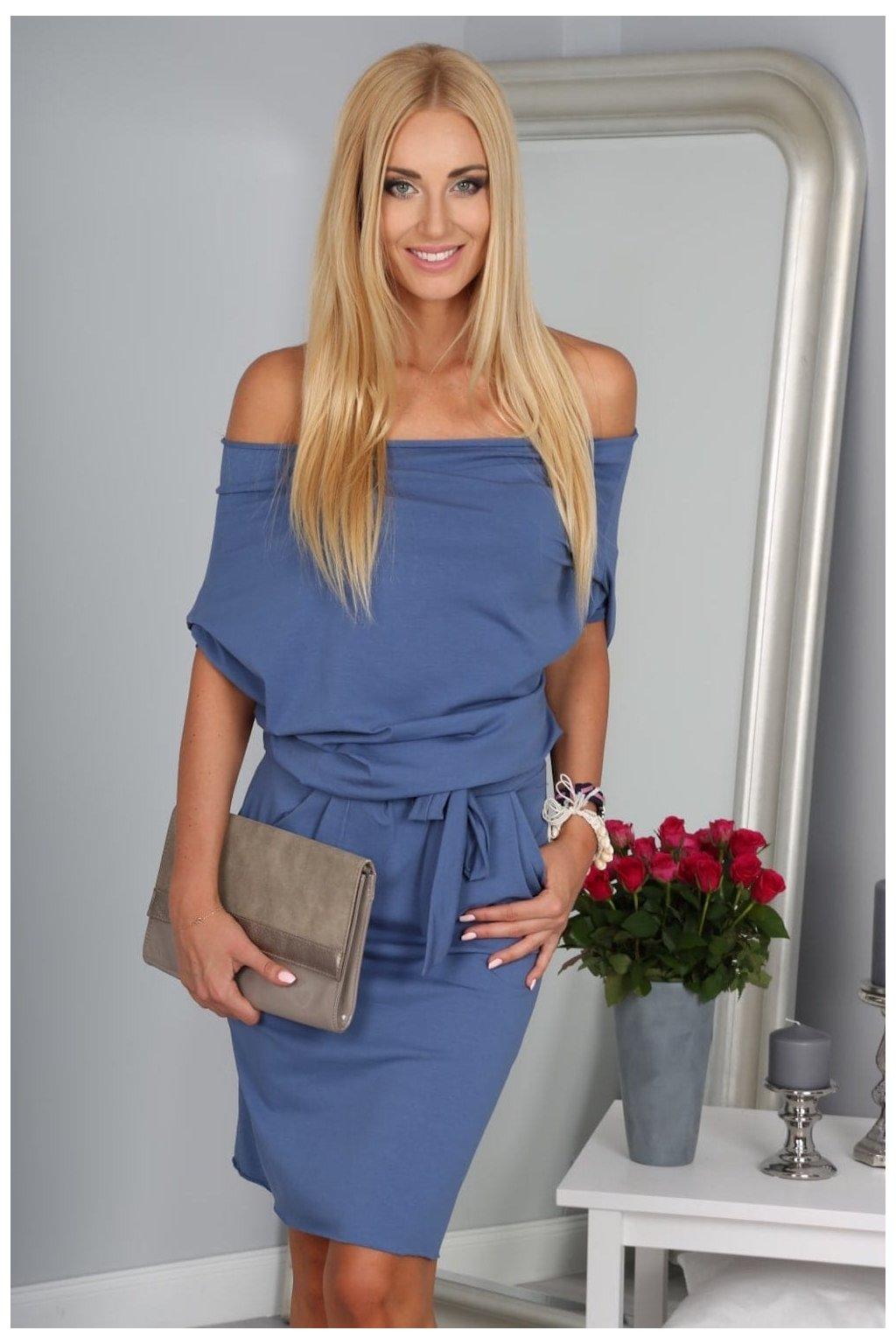 Dámské modré šaty Fasardi s vázáním v pase