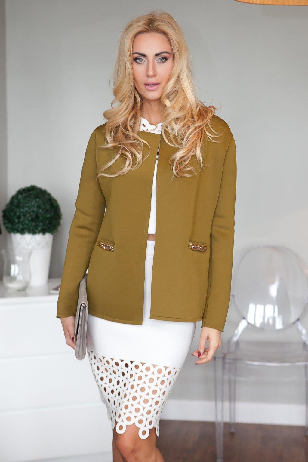 Dámský olivový kabát Fasardi