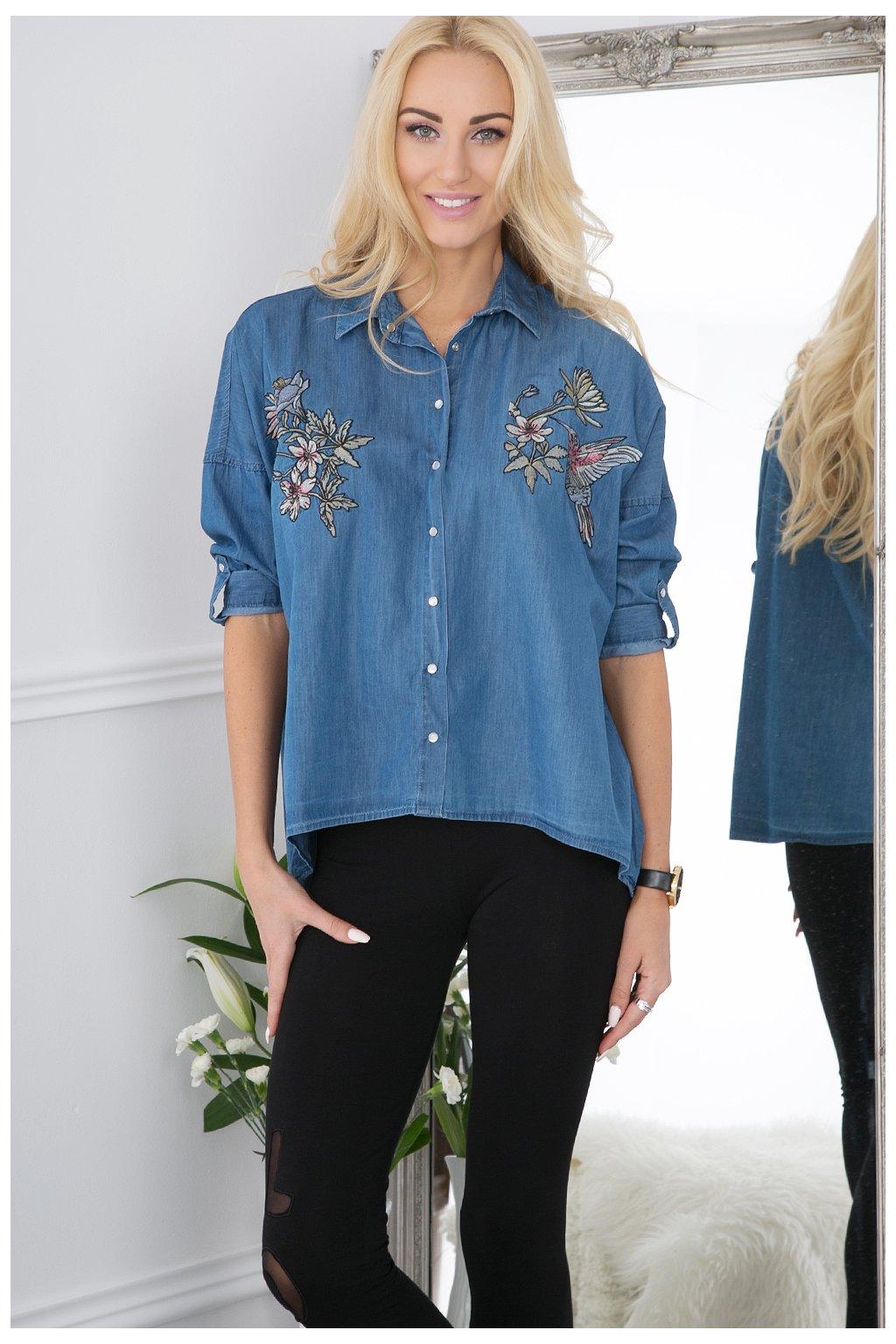 Džínová košile květinová Fasardi