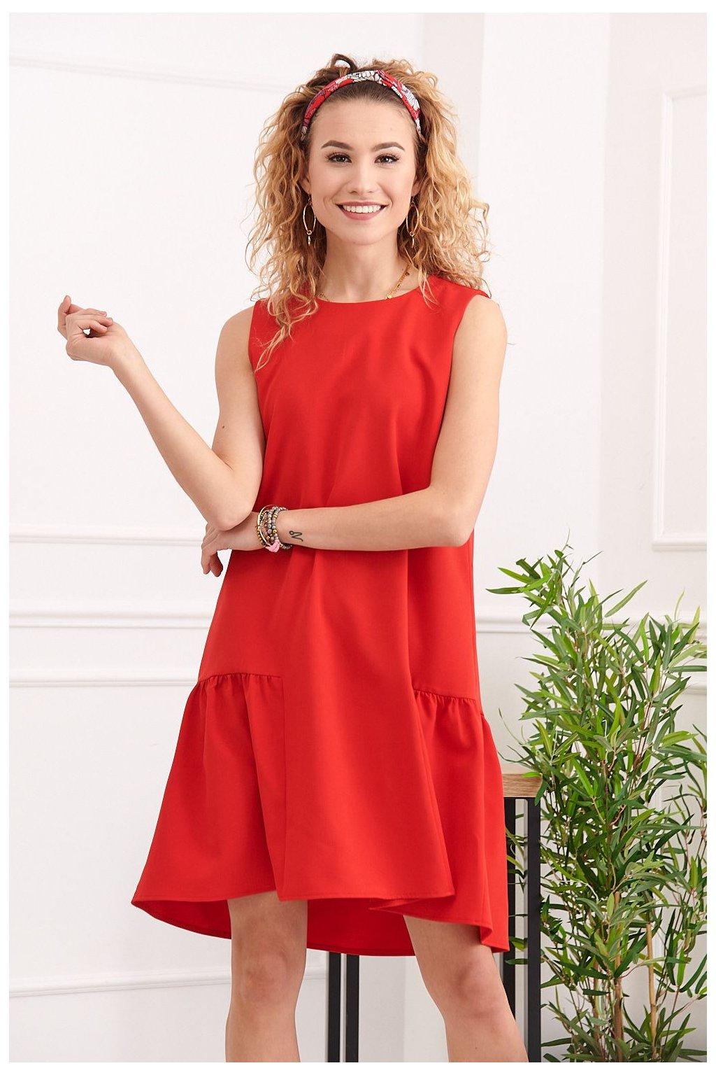 Elegantní červené šaty Fasardi s volánkem