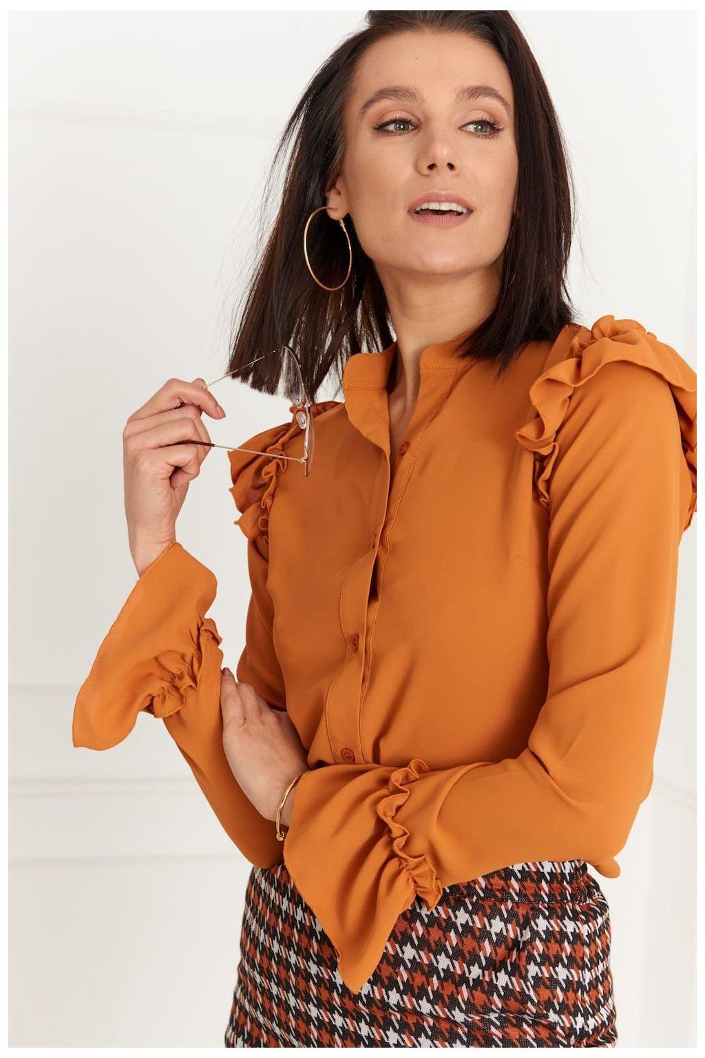 Elegantní košile Fasardi se stojáčkem - oranžová