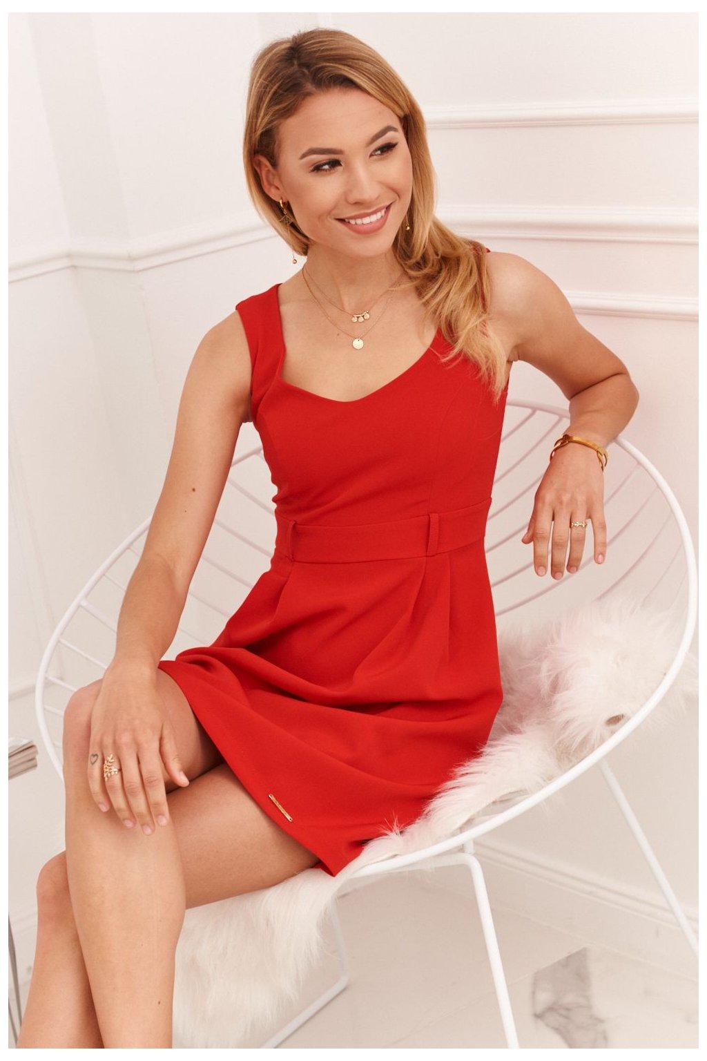 Elegantní šaty Fasardi s širokými ramínky - červené