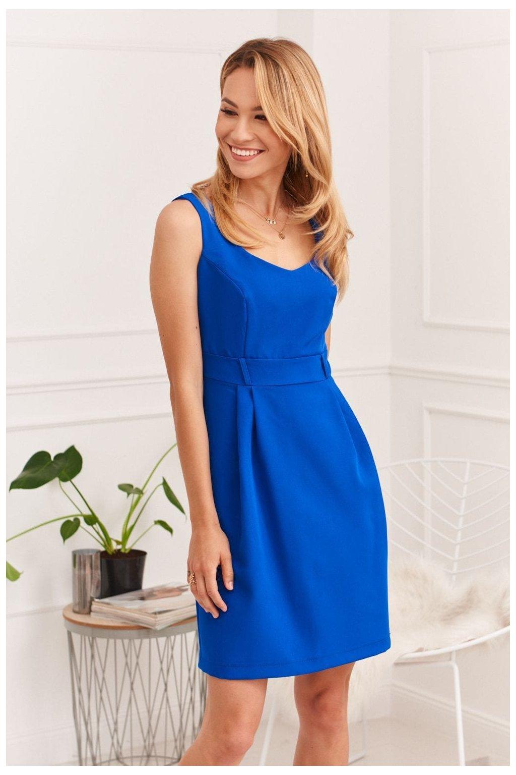 Elegantní šaty Fasardi s širokými ramínky - královsky modré