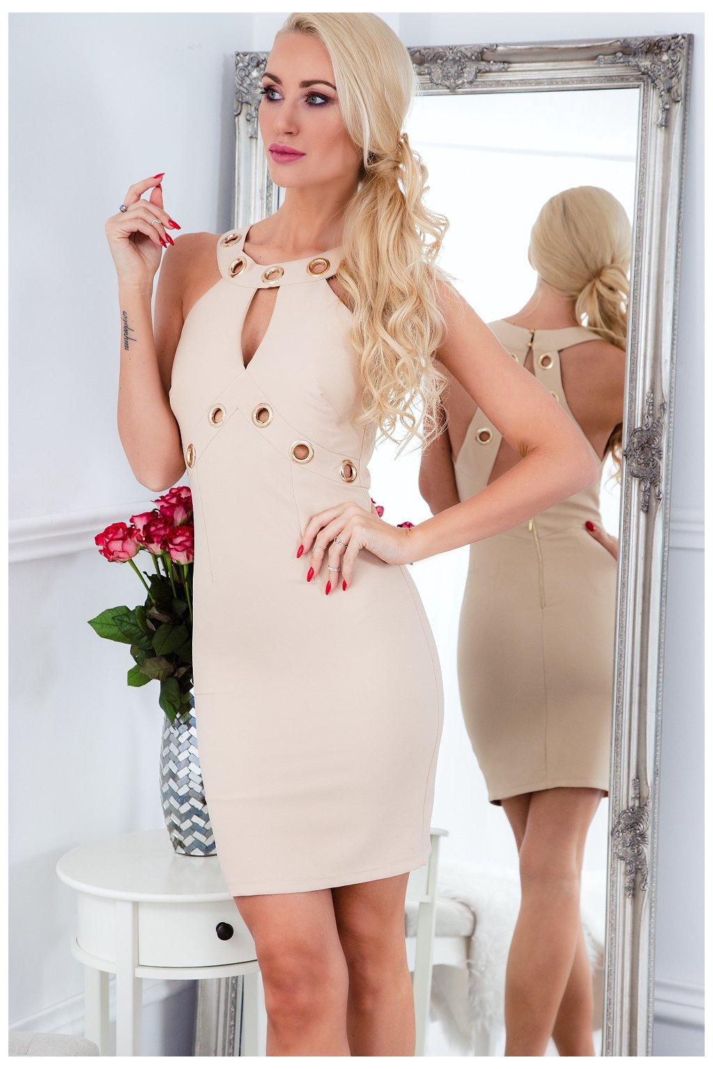Elegantní béžové šaty Fasardi