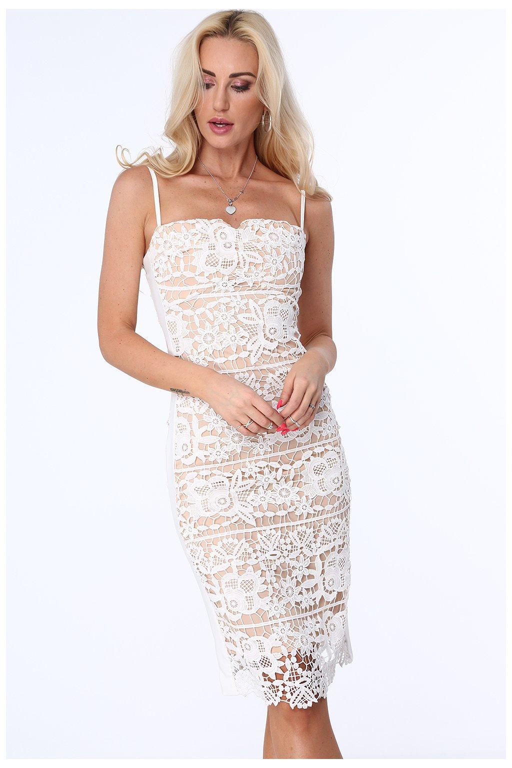 Krajkové elegantní šaty béžové Fasardi