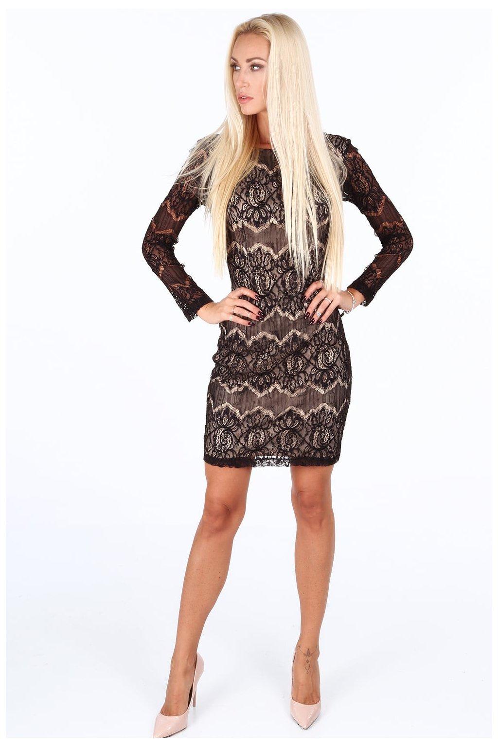 Krajkové šaty Fasardi s podšívkou - černé
