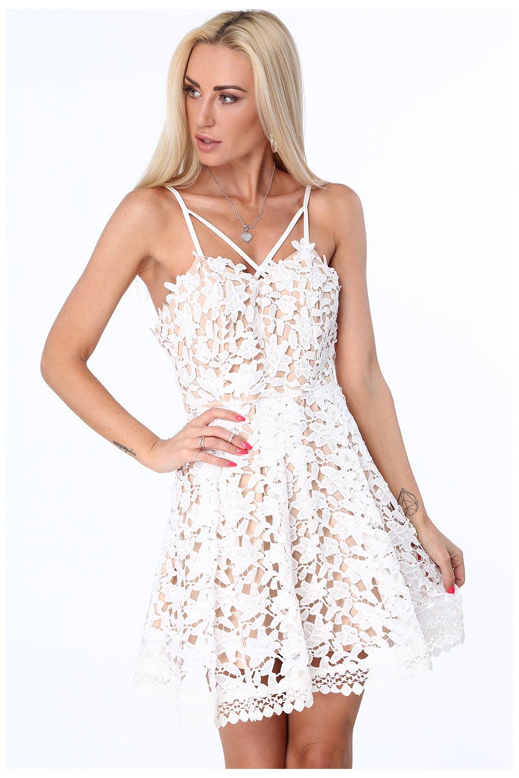 Krajkové šaty Fasardi s ozdobným dekoltem krémové