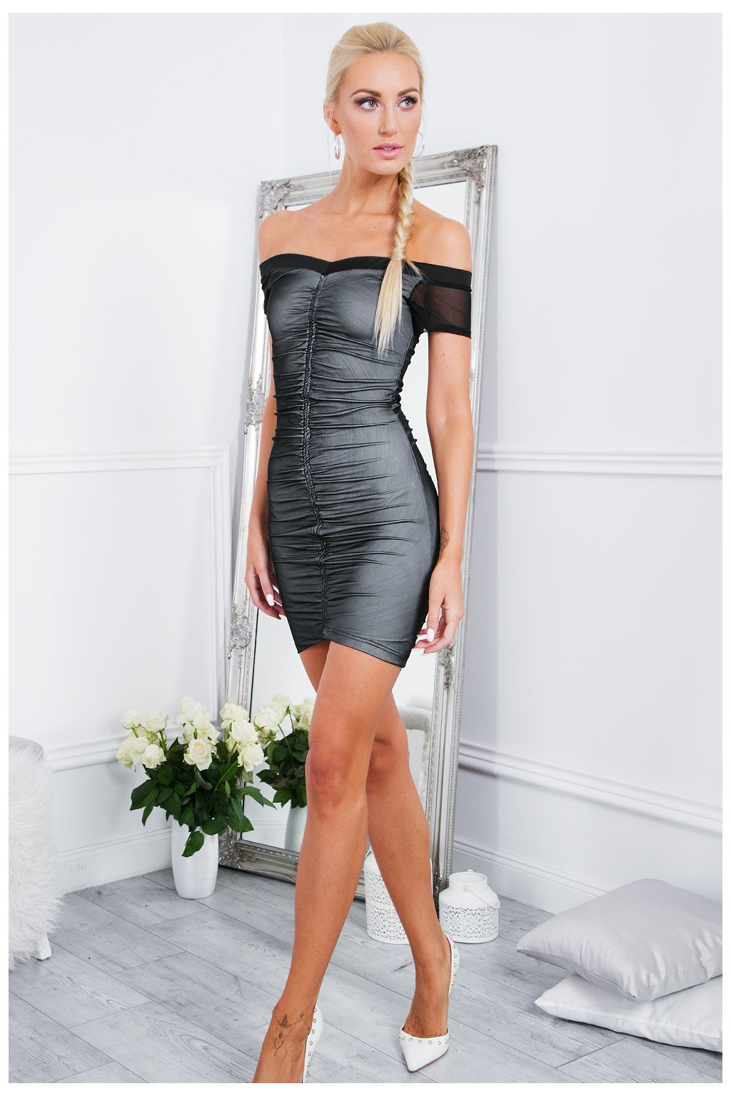 Lesklé šaty Fasardi černé