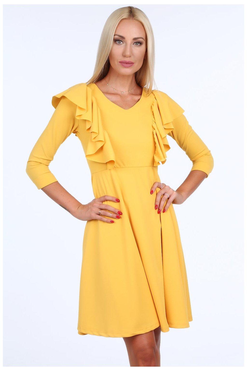 Medové šaty Fasardi s volánky
