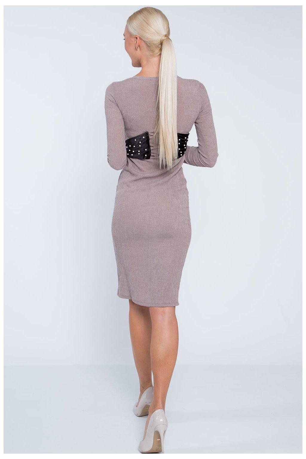 Dámské béžové šaty s vázáním Fasardi