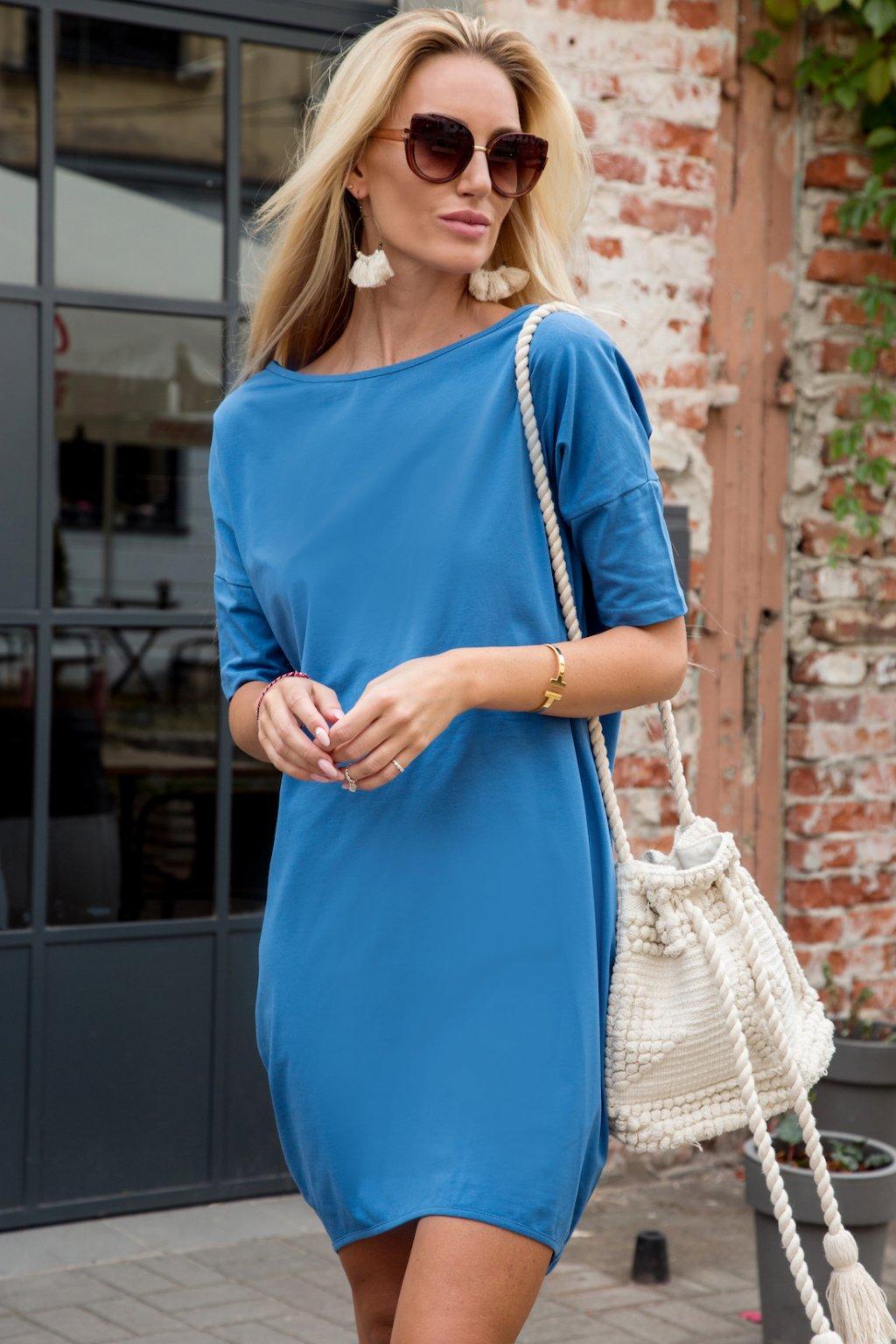 Modré sportovní šaty Fasardi s delším rukávem