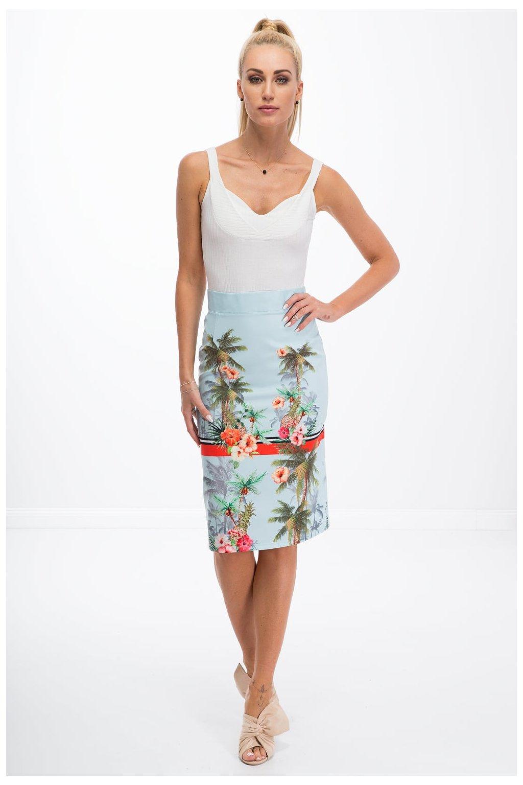 Světle modrá sukně s rozparkem Fasardi