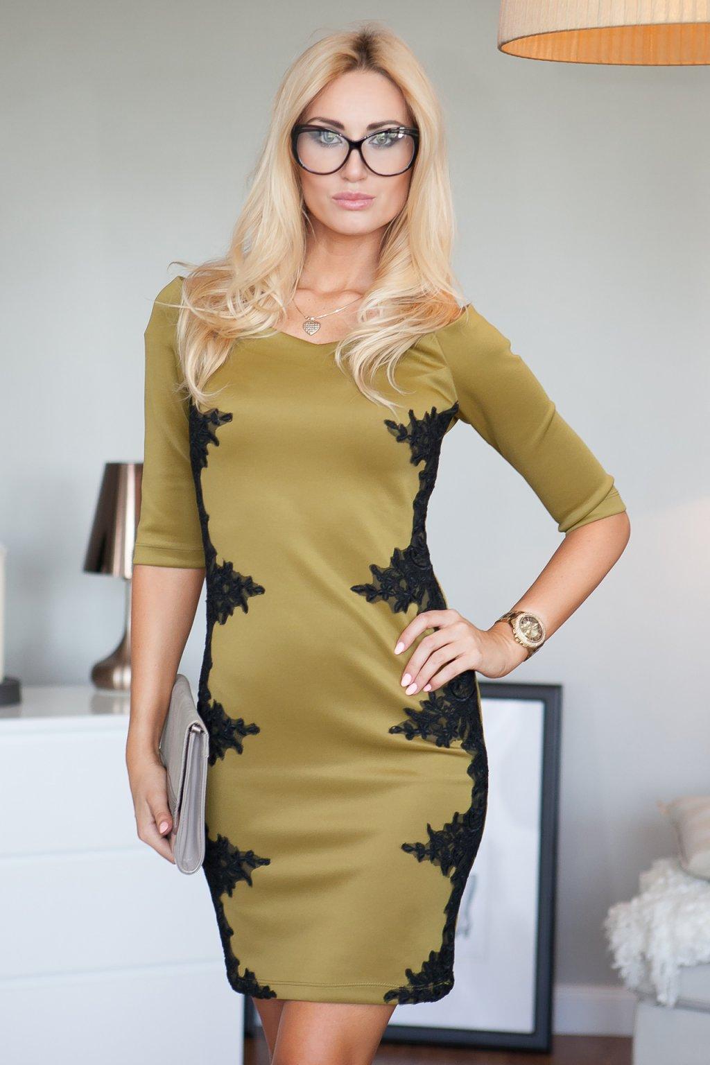 Pouzdrové khaki šaty s krajkou Fasardi