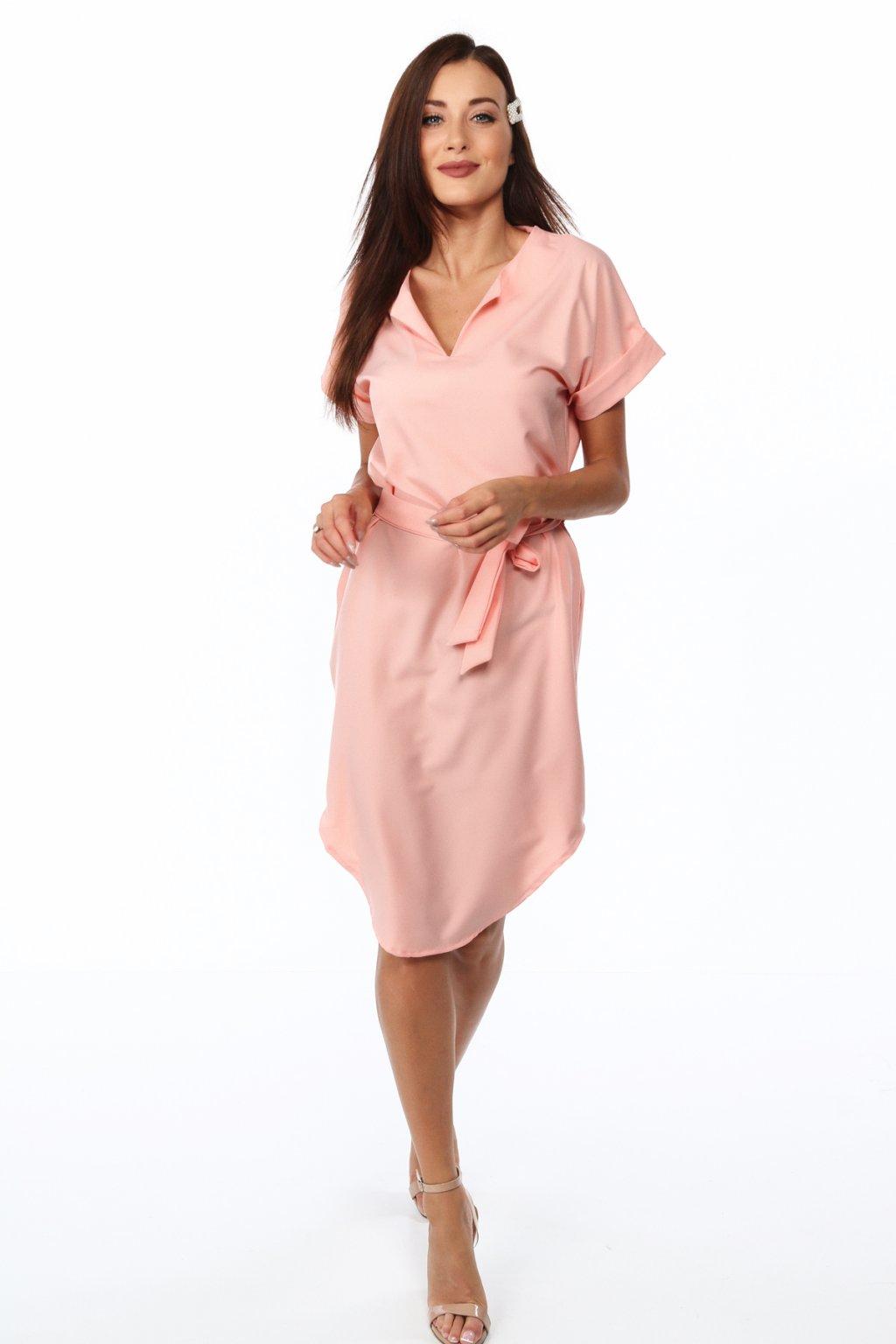 Pudrové šaty Fasardi s krátkým rukávem