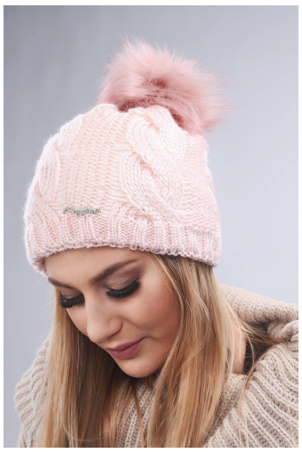 Růžová zimní čepice Fasardi