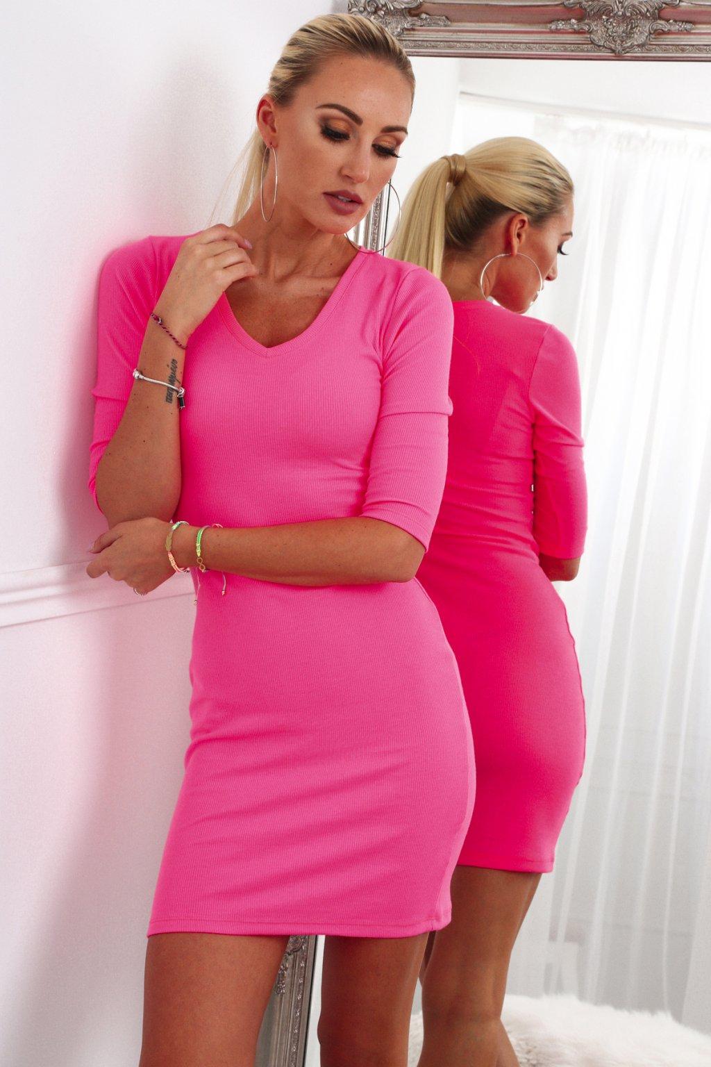Růžové pouzdrové šaty Fasardi