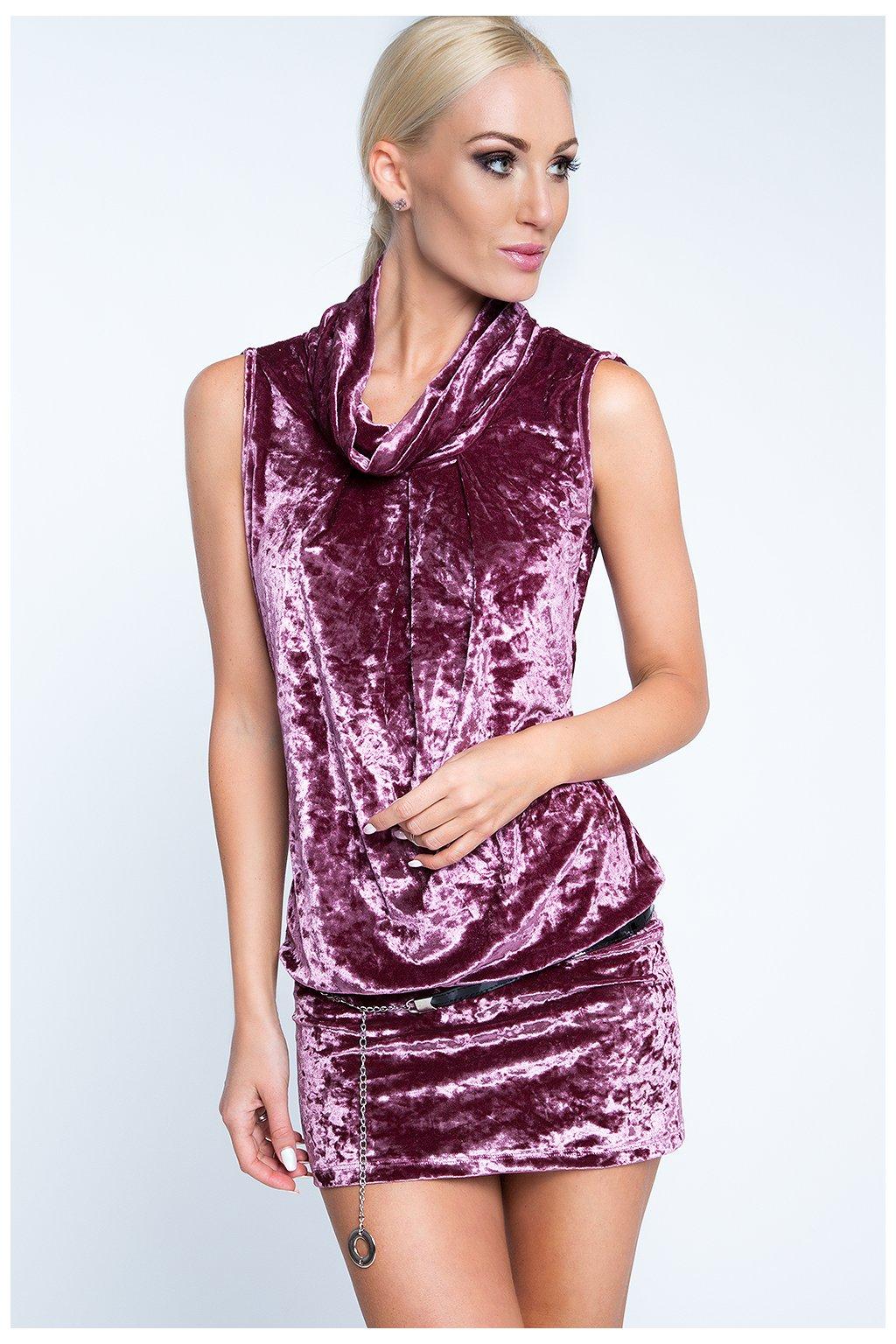 Sametové šaty Fasardi s dekorativním rolákem fialové