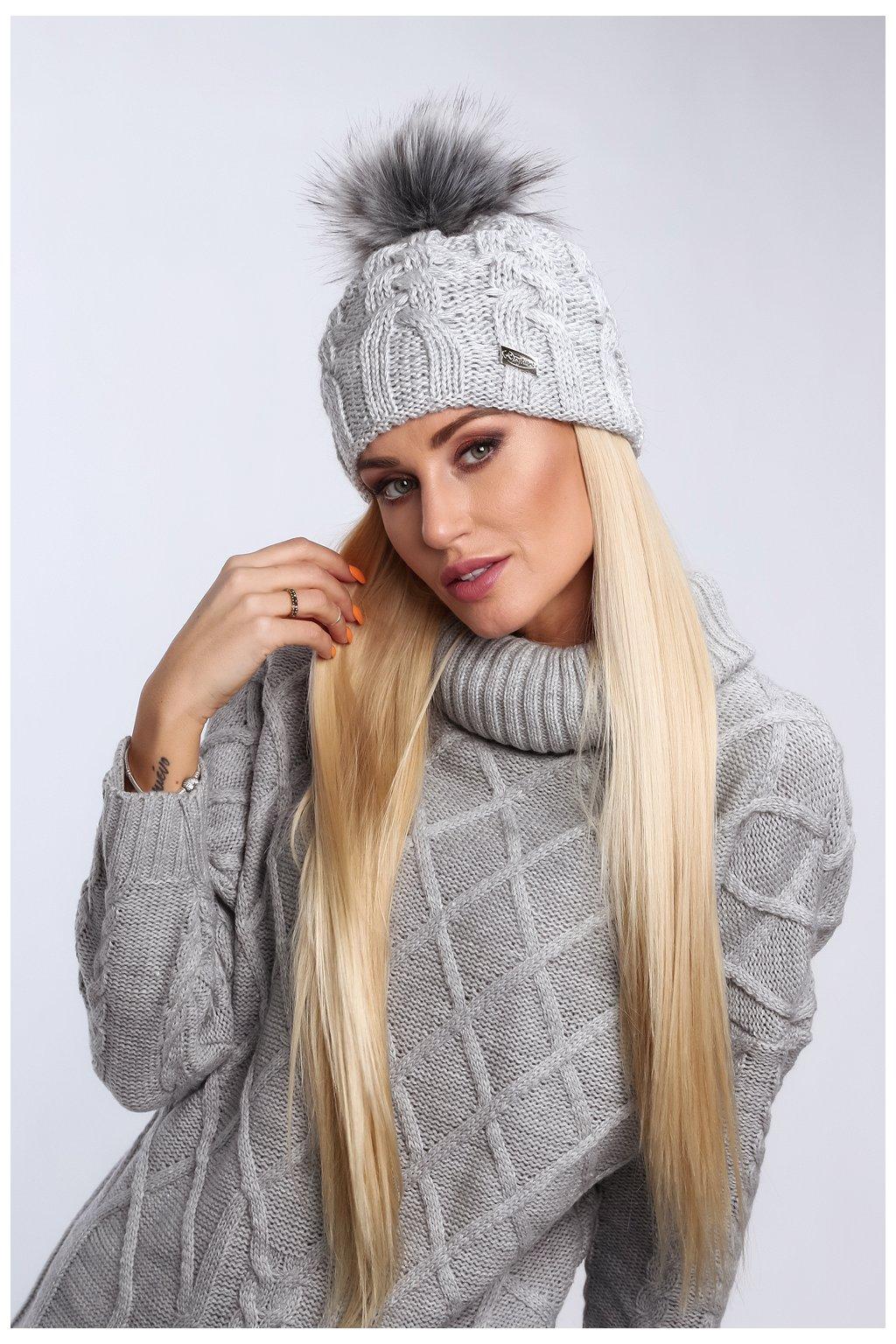 Světle šedá zimní čepice Fasardi