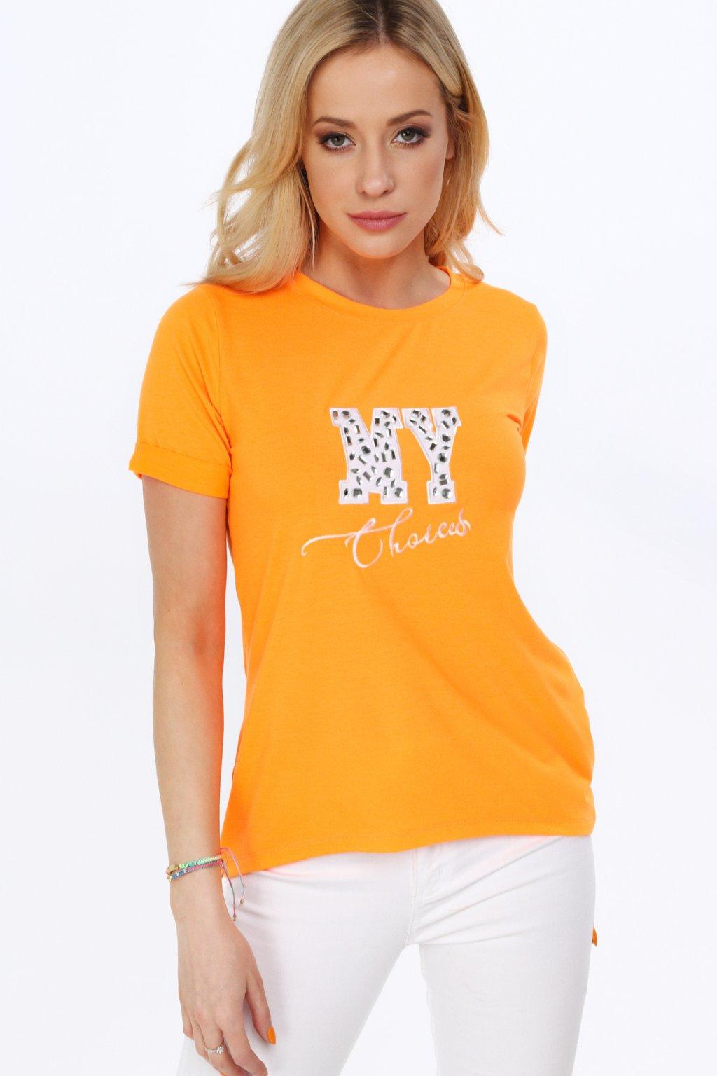 Sytě-oranžové triko s nápisem Fasardi