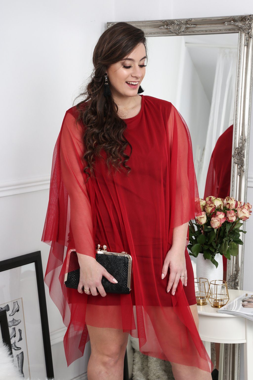 Šaty Plus Size Fasardi asymetrické - bordové